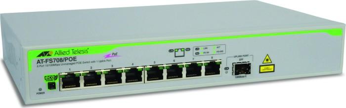 Allied Telesis FS700 Desktop Switch, 8x RJ-45, 1x SFP (AT-FS708/POE)