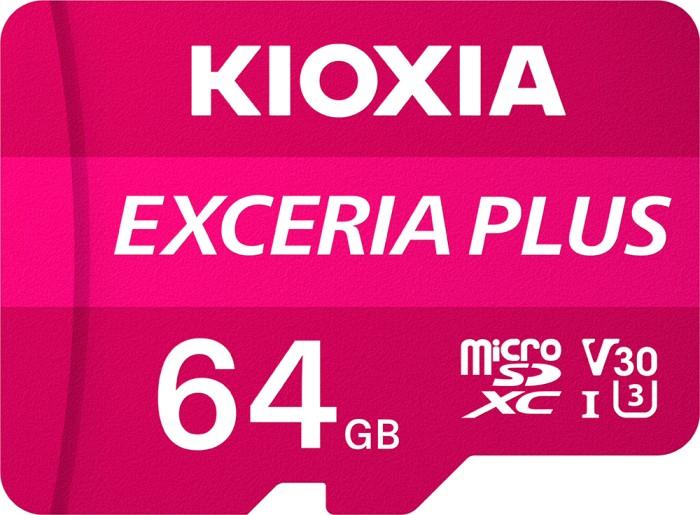 KIOXIA EXCERIA PLUS R100/W65 microSDXC 64GB Kit, UHS-I U3, A1, Class 10 (LMPL1M064GG2)