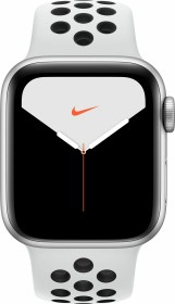 Apple Watch Nike Series 5 (GPS + Cellular) 40mm Aluminium silber mit Sportarmband pure platinum/schwarz (MX3C2FD)
