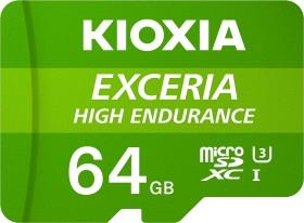 KIOXIA EXCERIA HIGH ENDURANCE R100/W65 microSDXC 64GB Kit, UHS-I U3, A1, Class 10 (LMHE1G064GG2)