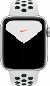 Apple Watch Nike Series 5 (GPS) 44mm Aluminium silber mit Sportarmband Pure Platinum/schwarz (MX3V2FD)