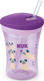 NUK Action Cup drinking learning cup with drinking straw dog purple, 230ml (10255505)