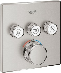 Grohe Grohtherm SmartControl thermostat with 3 valves supersteel (29126DC0)