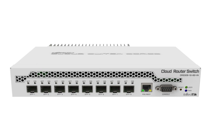 MikroTik RouterBOARD CRS300 Dual Boot Desktop 10G Smart Switch, 1x RJ-45, 8x SFP+, PoE PD (CRS309-1G-8S+IN)