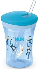 NUK Action Cup drinking learning cup with drinking straw ape blue, 230ml (10255504)