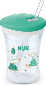 NUK Action Cup drinking learning cup with drinking straw turtle green, 230ml (10255506)