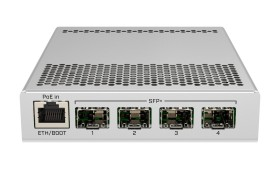 MikroTik Cloud Router Switch CRS305 Dual Boot Desktop 10G Smart Switch, 1x RJ-45, 4x SFP+, PoE PD (CRS305-1G-4S+IN)