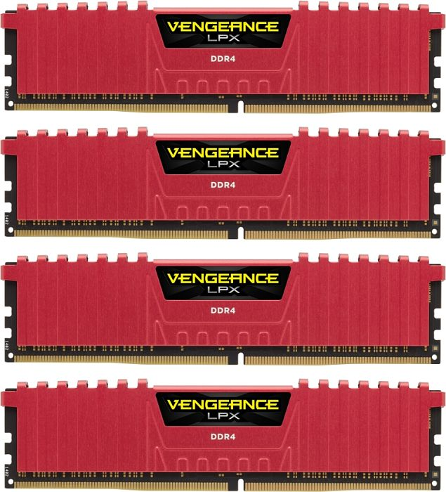 Corsair Vengeance LPX red DIMM kit 32GB, DDR4-2666, CL16-18-18-35 (CMK32GX4M4A2666C16R)