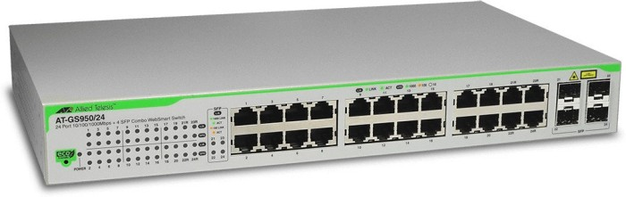 Allied Telesis GS950 Desktop Gigabit Smart Switch, 20x RJ-45, 4x RJ-45/SFP (AT-GS950/24) -- Revision 4