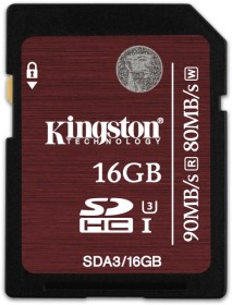 Kingston UHS-I U3 R90/W80 SDHC 16GB, UHS-I U3, Class 10 (SDA3/16GB)