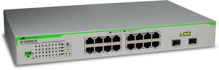 Allied Telesis GS950 Desktop Gigabit Smart Switch, 14x RJ-45, 2x RJ-45/SFP (AT-GS950/16)