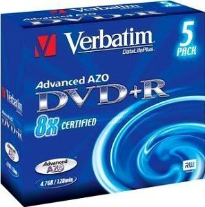 Verbatim DVD+R 4.7GB  8x,   5er Jewelcase (43291)