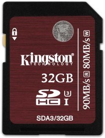 Kingston UHS-I U3 R90/W80 SDHC 32GB, UHS-I U3, Class 10 (SDA3/32GB)