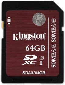Kingston UHS-I U3 R90/W80 SDXC 64GB, UHS-I U3, Class 10 (SDA3/64GB)