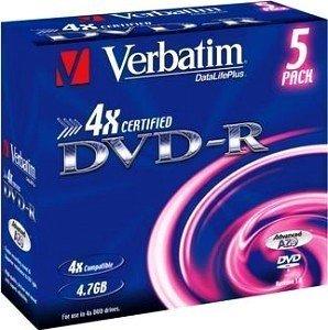 Verbatim DVD-R 4.7GB 4x, Jewelcase 5 sztuk (43169)