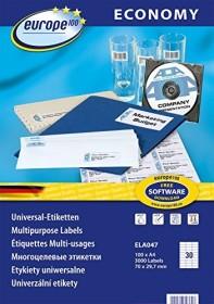 europe100 Etiketten 70x29.7mm, weiß, 100 Blatt (ELA047)