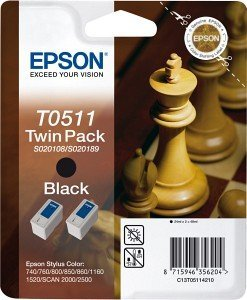 Epson T0511 Ink black, 2-pack (C13T05114210)