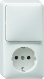 Gira combination rocker switch/SCHUKO-socket 16A 250V vertical, pure white (0176 13)