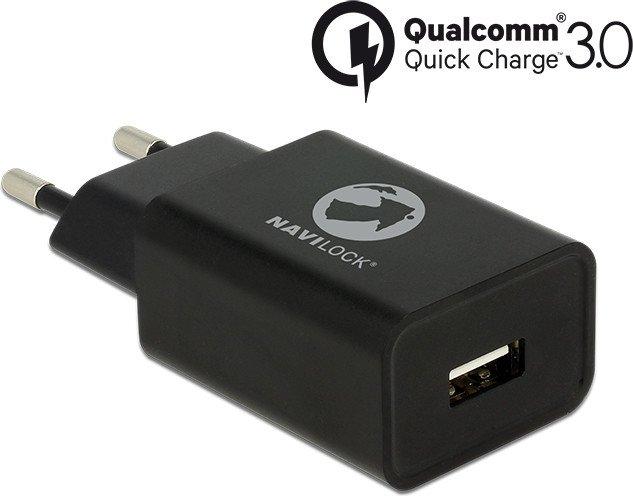 Navilock USB-Ladegerät 1x USB-A Qualcomm Quick Charge 3.0 schwarz (62968)