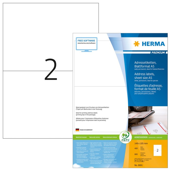 Herma labels Premium A6, white, 400 sheets (8691)