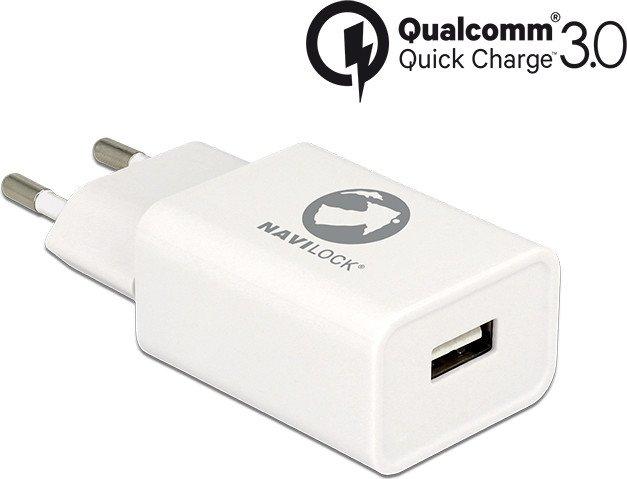 Navilock USB-Ladegerät 1x USB-A Qualcomm Quick Charge 3.0 weiß (62969)