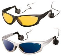 Pontis Sun-Glasses with Headphones, frame silver/glasses blue