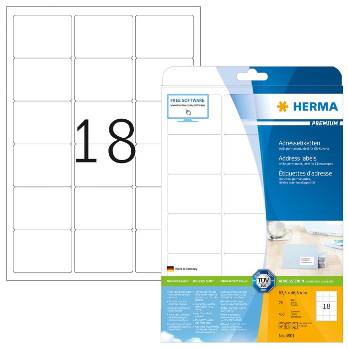 Herma labels Premium 63.5x46.6mm, white, 25 sheets (4501)