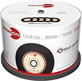 Primeon black-vinyl-disc CD-R 80min/700MB 52x, 50er Spindel (2761108)