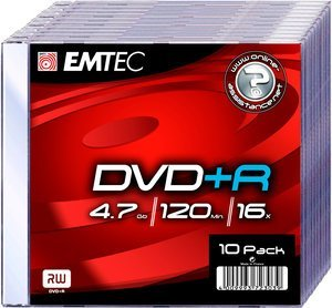 Emtec DVD+R 4.7GB, 10-pack Slimcase