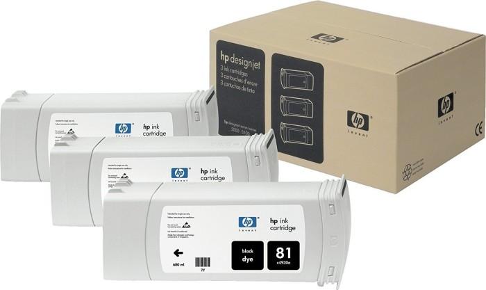 HP 81 Tinte schwarz, 3er-Pack (C5066A)