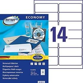 europe100 Etiketten 99.1x38.1mm, weiß, 100 Blatt (ELA042)