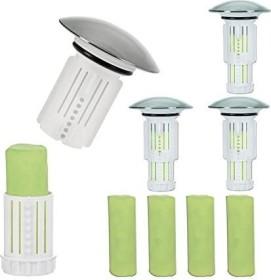 Abfluss-Fee Verschlussstopfen 4er-Set weiß + 8 Duftsteine (00182)