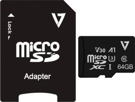 V7 R100/W85 microSDXC 64GB Kit, UHS-I U3, A1, Class 10 (VFMSD64GV30U3-3)