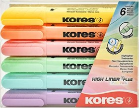 Kores High Liner Plus Textmarker Pastell sortiert, 6er-Set (TM36060)