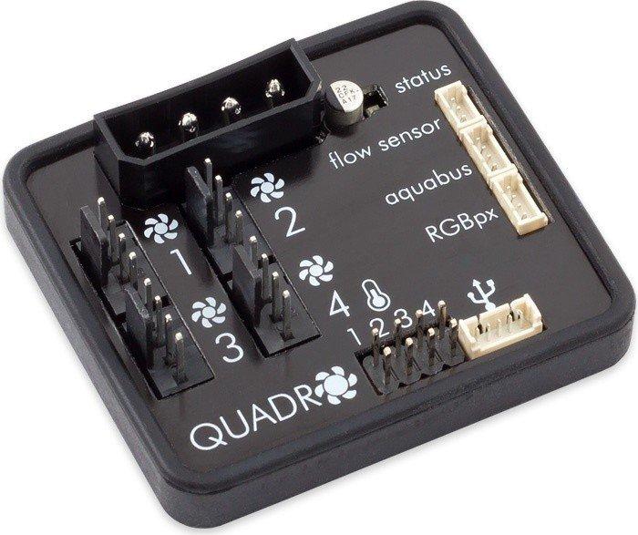 Aqua Computer Quadro für PWM-Lüfter, Licht- und Lüftersteuerung 4-Kanal (53256)
