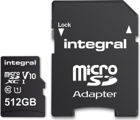 Integral Smartphone and Tablet R90 microSDXC 512GB Kit, UHS-I U1, Class 10 (INMSDX512G10-80SPTAB)