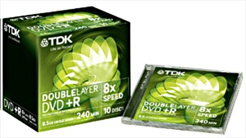 TDK DVD+R 8.5GB DL 8x, 10-pack Jewelcase (T19544)