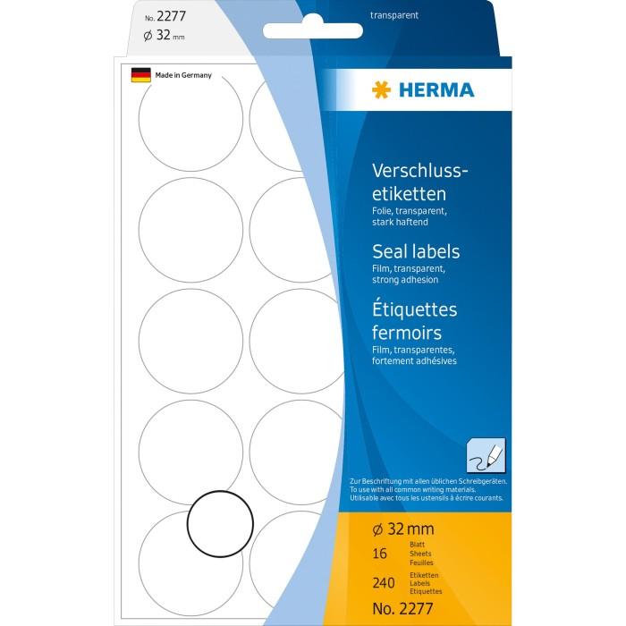 240x HERMA Verschlussetiketten transparent reißfest rund Ø 32 mm Klebesiegel