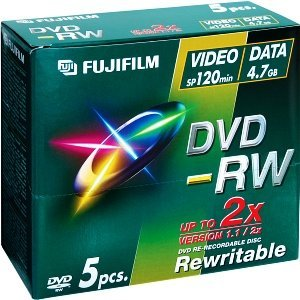 Fujifilm DVD-RW 4.7GB 2x, 5-pack Jewelcase (45767)