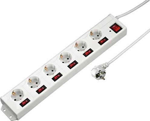 Hama power strip separate switchable with overvoltage protection 6-way, 1.4m, white (00137239)