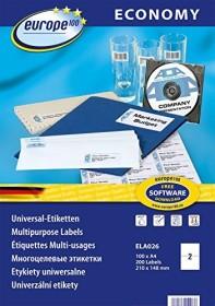 europe100 labels 210x148mm, white, 100 sheets (ELA026)