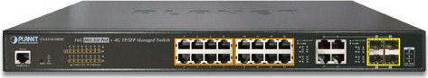 Planet GS-4210 Rackmount Gigabit Managed Switch, 16x RJ-45, 4x RJ-45/SFP, 220W PoE+ (GS-4210-16P4C)