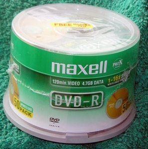 Maxell DVD-R 4.7GB, 50-pack -- provided by bepixelung.org - see http://bepixelung.org/6357 for copyright and usage information