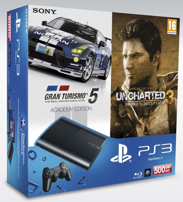 Sony Playstation 3 console Super slim , Uncharted 3 Game of the Year Edition & Gran Turismo 5 Academy Edition Bundle - 500GB (PS3) -- provided by bepixelung.org - see http://bepixelung.org/21855 for copyright and usage information