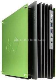 In Win H-Frame Mini grün, Glasfenster, 180W FlexATX, Mini-ITX