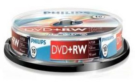 Philips DVD+RW 4.7GB, 10-pack