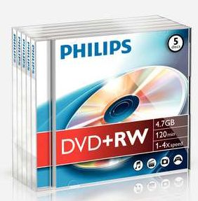 Philips DVD+RW 4.7GB, sztuk 5 Jewel-Case (DW4S4J05F)