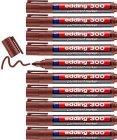 edding 300 Permanentmarker braun, 10er-Pack (4-300007)