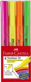 Faber-Castell Textliner 38, Textmarker, sortiert, 4er-Set, Etui (157704)