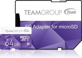 TeamGroup Color Card I purple R80/W15 microSDXC 64GB Kit, UHS-I, Class 10 (TCUSDX64GUHS41)
